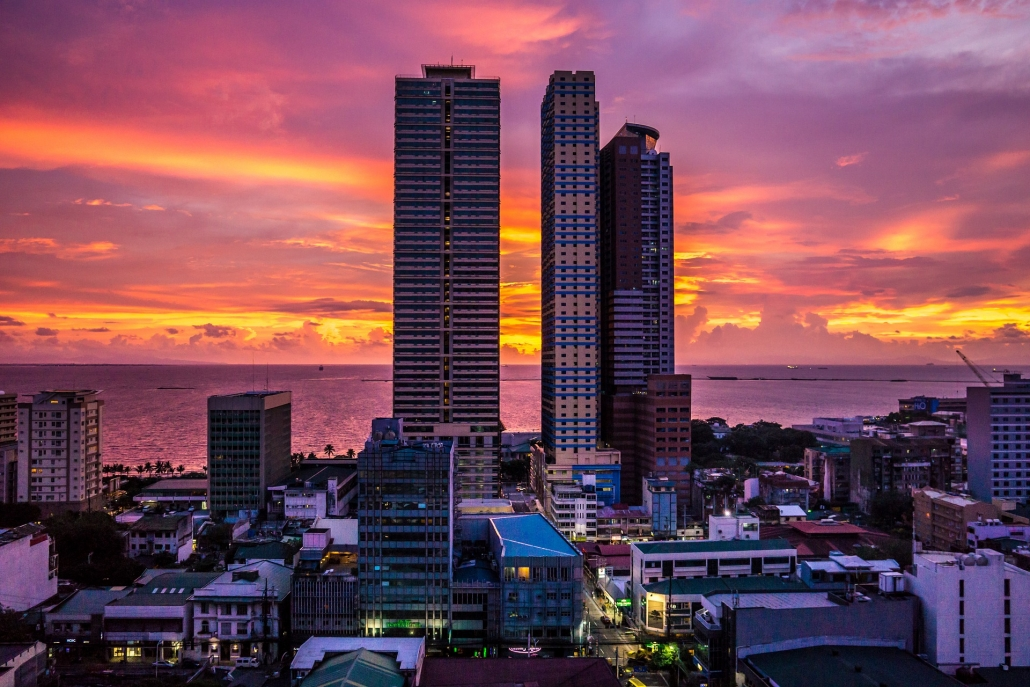 manila bay city and sunset view